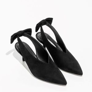 &Other Stories Suede Kitten Slingback Bow Heels